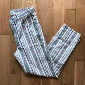Navajo Printed Cropped Straight Leg Jeans